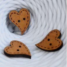 Пуговица деревянная, сердце 2, цвет дуб